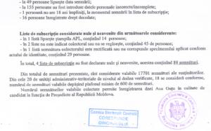 Fragment din Nota informativa privind rezultatul verificarii listelor