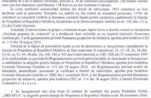 Fragment din Hotărîrea CEC de înregistrare a Anei Guțu